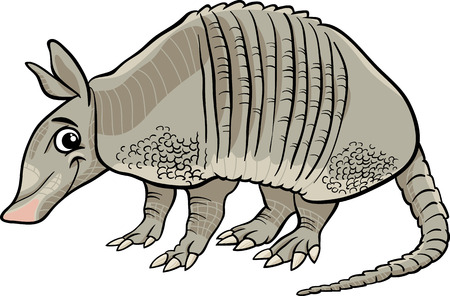 Cartoon Illustration of Cute Armadillo Animal Vector