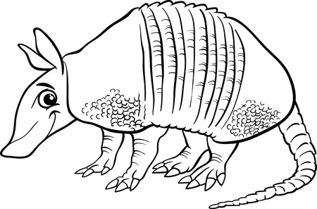 Black and White Cartoon Illustration of Cute Armadillo Animal for Coloring Book