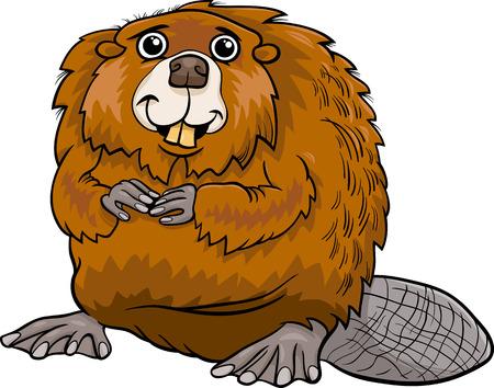 castor: Ilustración de dibujos animados castor lindo Animal
