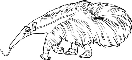 black giant: Black and White Cartoon Illustration of Cute Giant Anteater Animal for Coloring Book Illustration