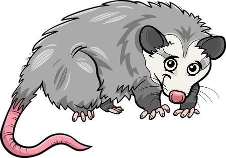 opossum: Cartoon Illustration of Cute Opossum Animal