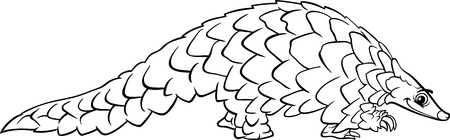 Black and White Cartoon Illustration of Funny Pangolin Animal for Coloring Book Vector