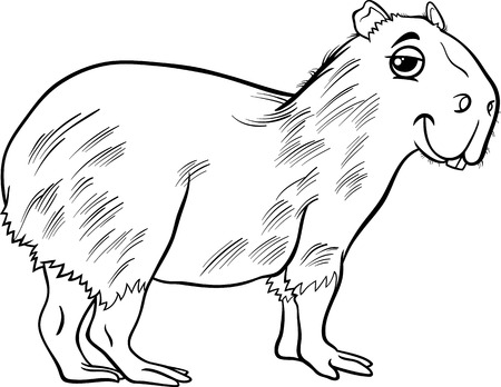 biggest animal: Black and White Cartoon Illustration of Funny Capybara Animal for Coloring Book Illustration