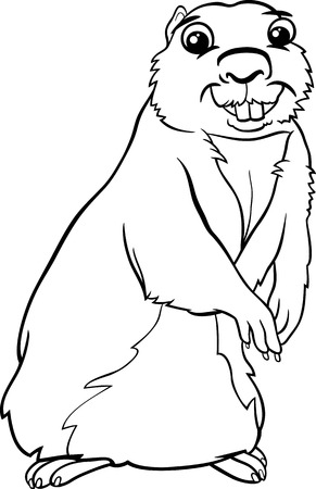 gopher: Black and White Cartoon Illustration of Funny Gopher Animal for Coloring Book