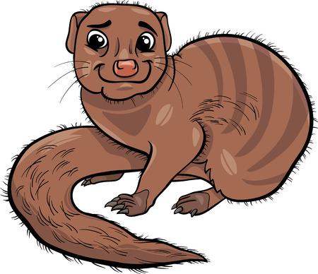 mongoose: Cartoon Illustration of Funny Mongoose Animal Illustration