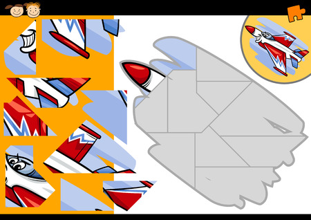 shapes cartoon: Cartoon Illustration of Education Jigsaw Puzzle Game for Preschool Children with Funny Jet Fighter Plane Character