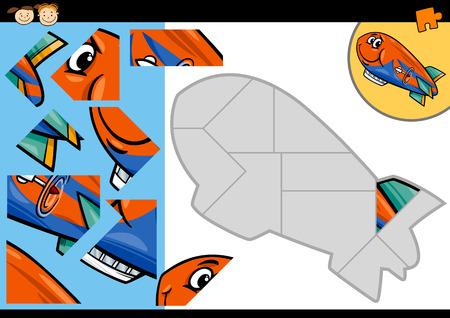 blimp: Ejemplo de la historieta Educaci�n Jigsaw Puzzle Game para ni�os en edad preescolar con divertidos Zeppelin o Blimp car�cter de