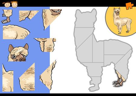 llama: Cartoon Illustration of Education Jigsaw Puzzle Game for Preschool Children with Funny Alpaca or Llama Animal Character
