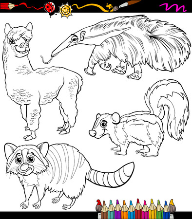 Coloring Book or Page Cartoon Illustration of Black and White Animals Chatacters for Children Vector