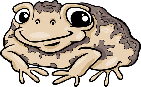 amfibie: Tecknad Illustration Funny Toad Amfibie Djur Illustration