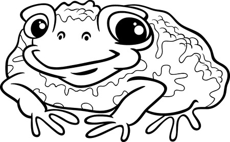 Black and White Cartoon Illustration of Funny Toad Amphibian Animal for Coloring Book Vector