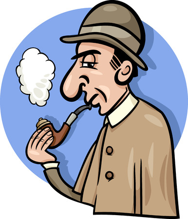 investigator: Cartoon Illustration of Retro Detective Smoking a Pipe