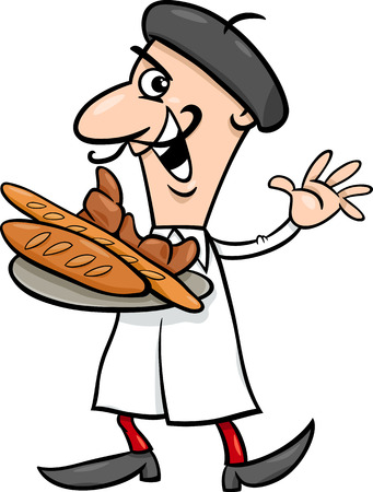 bread rolls: Cartoon Illustration of Funny French Baker or Cook with Croissant and Bread