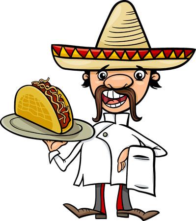 Ilustración de dibujos animados divertido del cocinero mexicano o Camarero con Taco