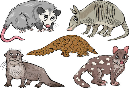 Cartoon Illustration of Funny Wild Animals Characters Set Vector