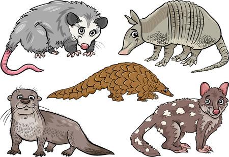 nutria caricatura: Ilustraci�n de dibujos animados divertidos Animales Salvajes Personajes Set
