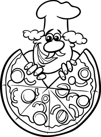 Black and White Cartoon Illustration of Italian Cook or Chef with Big Pizza for Coloring Book