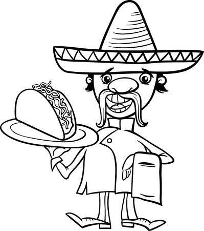 Black and White Cartoon Illustration of Funny Mexican Chef or Waiter with Taco for Coloring Book Vector