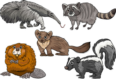 anteater: Cartoon Illustration of Funny Wild Animals Characters Set