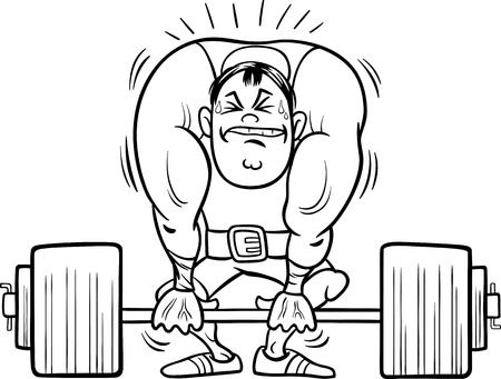 snatch: Black and White Cartoon Illustrations of Strongman Athlete or Weightlifting Sportsman for Coloring Book