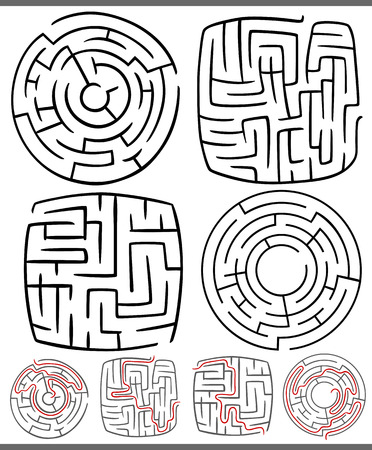 maze game: Set of Mazes or Labyrinths Graphic Diagrams for Children Education