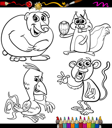 Coloring Book or Page Cartoon Illustration of Black and White Wild Animals Characters for Children Vector