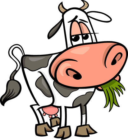 Cartoon Illustration of Cute Cow Farm Animal Vector
