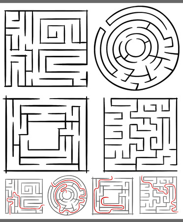 preliminary: Set of Mazes or Labyrinths Graphic Diagrams for Children Education
