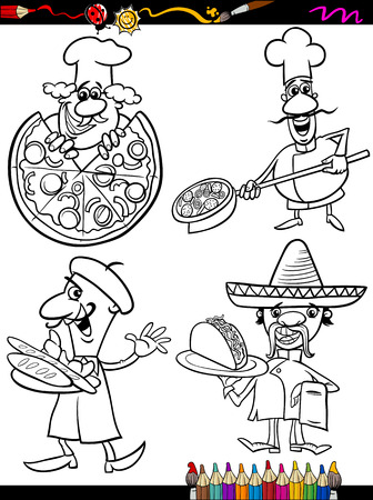 master page: Coloring Book or Page Cartoon Illustration of Black and White Chefs Characters with National Food for Children