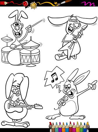 Schwarz-Weiß-Karikatur Illustration Von Funny Bunny Spielen Rock On ...