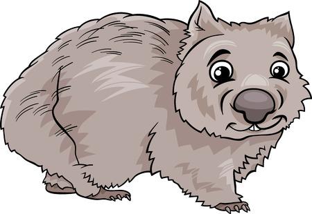 wombat: Ilustración de dibujos animados lindo de Wombat Marsupial Animal Vectores