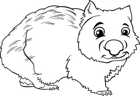 wombat: Negro y dibujos animados de blanco Ilustración de lindo Wombat Marsupial Animal para Coloring Book