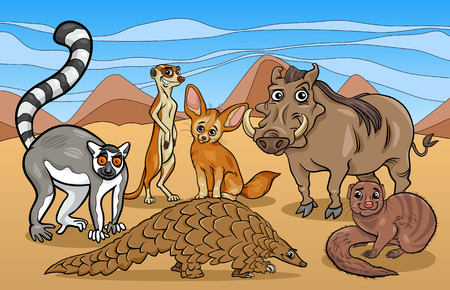 mongoose: Cartoon Illustrations of Funny African Mammals Animals Mascot Characters Group