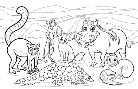 Black and White Cartoon Illustrations of Funny African Mammals Animals Mascot Characters Group for Coloring Book Vector