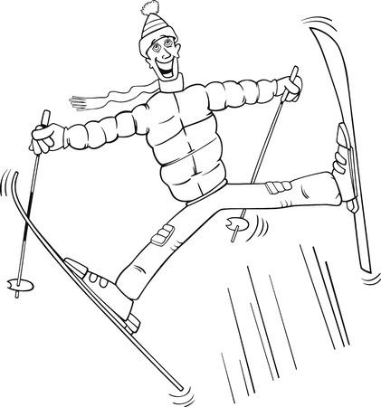 montañas caricatura: Blanco y Negro ilustraciones de dibujos animados de hombre divertido Salto en esquí para Coloring Book