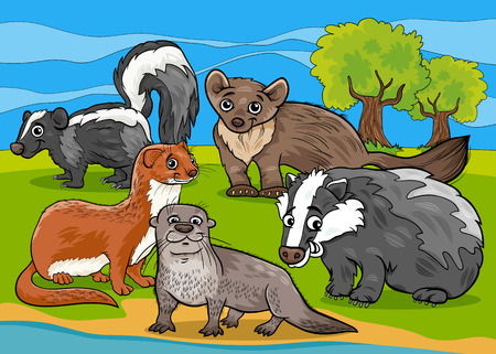 Cartoon Illustrations of Funny Mustelids Mammals Animals Mascot Characters Group Vector