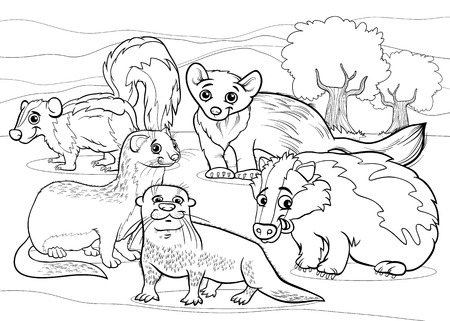Black and White Cartoon Illustrations of Funny Mustelids Mammals Animals Mascot Characters Group for Coloring Book Vector