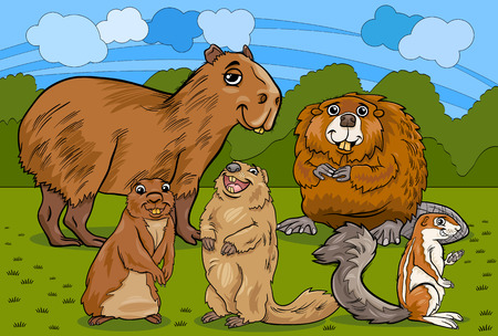 Cartoon Illustrations of Funny Rodents Mammals Animals Mascot Characters Group Vector