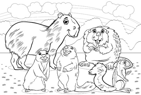 Black and White Cartoon Illustrations of Funny Rodents Mammals Animals Mascot Characters Group for Coloring Book Vector