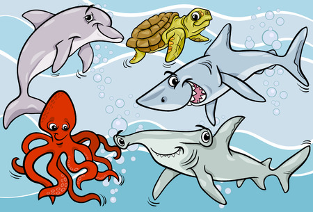 Cartoon Illustrations of Funny Sea Life Animals and Fish Mascot Characters Group Vector