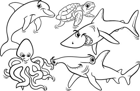 pez martillo: Blanco y Negro Ilustraciones DIVERTIDO DE Vida marítima animales y peces de la mascota caracteres Grupo de Coloring Book