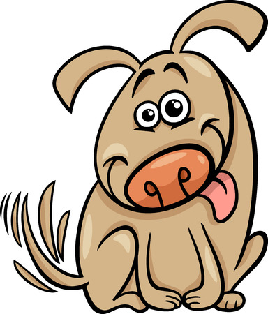 wag: Cartoon Illustration of Cute Dog Wagging his Tail Illustration