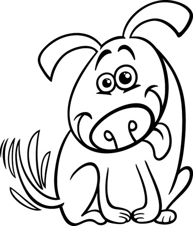 wag: Black and White Cartoon Illustration of Cute Dog Wagging his Tail for Coloring Book