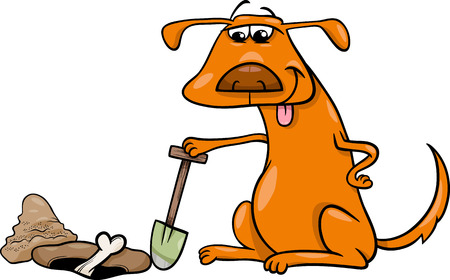 hole: Cartoon Illustration of Dog which Burrows or Digs his Bone