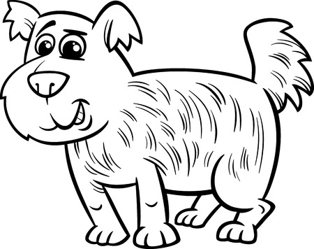 mongrel: Black and White Cartoon Illustration of Cute Shaggy Dog for Coloring Book