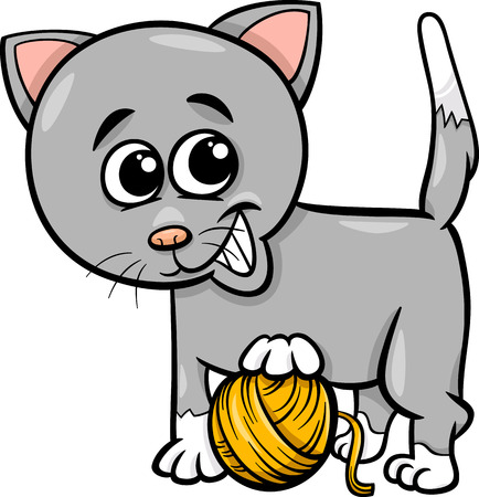 Cartoon Illustration of Cute Cat Playing with Ball of Wool Vector