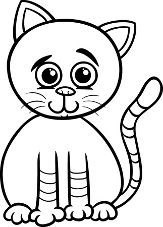 Black and White Cartoon Illustration of Cute Cat Pet Character for Coloring Book Vector