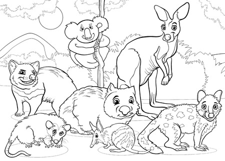 tiger page: Black and White Cartoon Illustrations of Funny Marsupials Mammals Animals Mascot Characters Group for Coloring Book