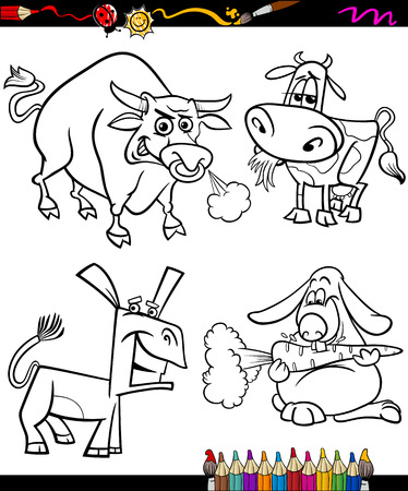 Coloring Book or Page Cartoon Illustration of Black and White Farm Animals Characters for Children