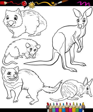wombat: Coloring Book o página Ilustración de dibujos animados Blanco Marsupiales Animales salvajes negros y personajes para niños